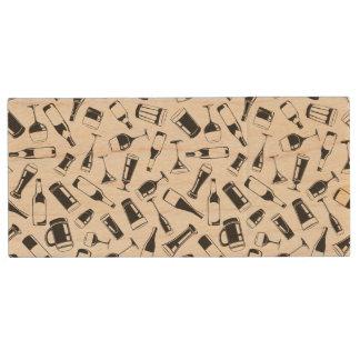 Black Pattern Drinks and Glasses Wood USB Flash Drive