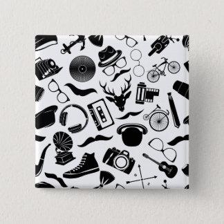 Black Pattern Hipster 15 Cm Square Badge
