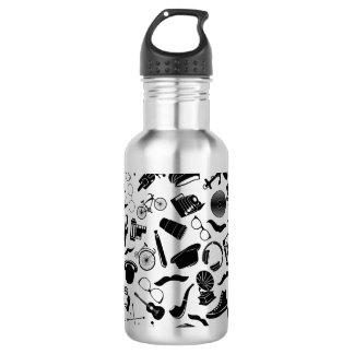 Black Pattern Hipster 532 Ml Water Bottle