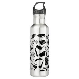 Black Pattern Hipster 710 Ml Water Bottle