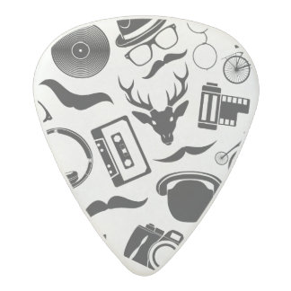Black Pattern Hipster Acetal Guitar Pick