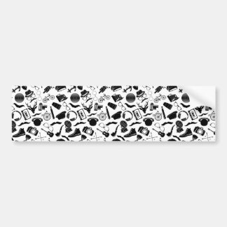 Black Pattern Hipster Bumper Sticker
