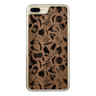 Black Pattern Hipster Carved iPhone 7 Plus Case