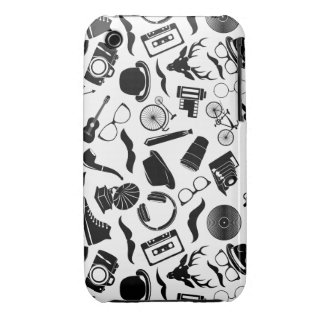 Black Pattern Hipster Case-Mate iPhone 3 Cases