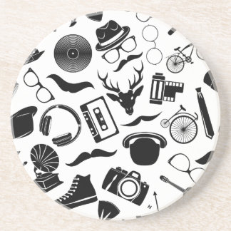 Black Pattern Hipster Coaster
