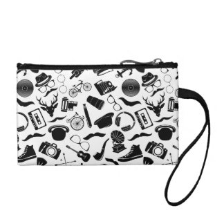 Black Pattern Hipster Coin Purse