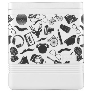 Black Pattern Hipster Cooler
