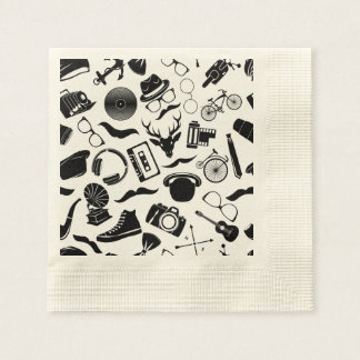 Black Pattern Hipster Disposable Napkin