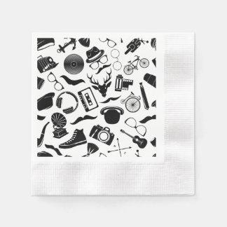 Black Pattern Hipster Disposable Serviettes