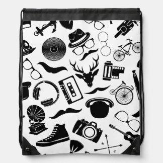Black Pattern Hipster Drawstring Bag
