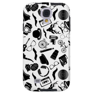 Black Pattern Hipster Galaxy S4 Case