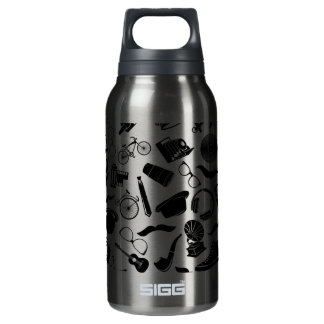 Black Pattern Hipster Insulated Water Bottle