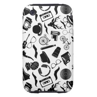 Black Pattern Hipster iPhone 3 Tough Case