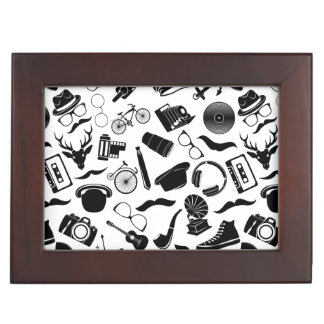 Black Pattern Hipster Keepsake Boxes