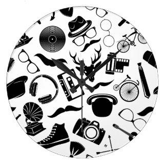 Black Pattern Hipster Large Clock