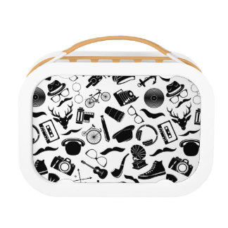 Black Pattern Hipster Lunch Box
