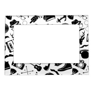 Black Pattern Hipster Magnetic Picture Frame