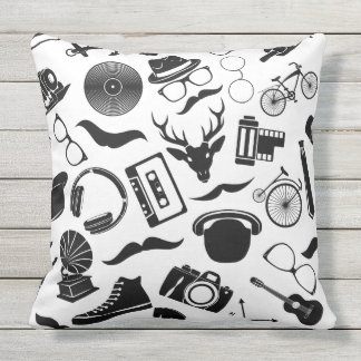 Black Pattern Hipster Outdoor Cushion