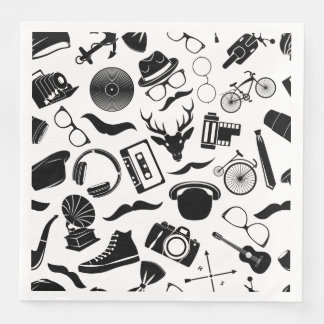 Black Pattern Hipster Paper Napkin