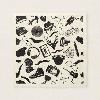 Black Pattern Hipster Paper Serviettes