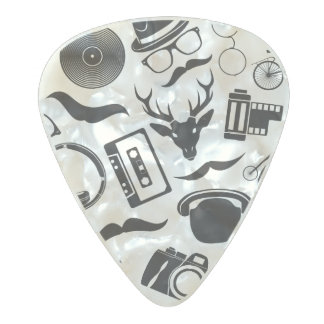 Black Pattern Hipster Pearl Celluloid Guitar Pick