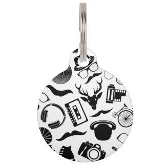 Black Pattern Hipster Pet ID Tag