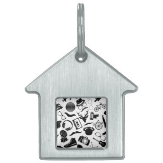Black Pattern Hipster Pet Tag