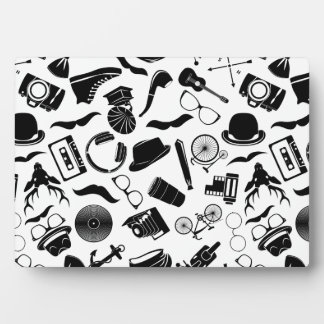 Black Pattern Hipster Photo Plaque