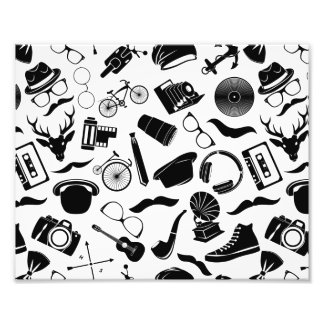 Black Pattern Hipster Photo Print