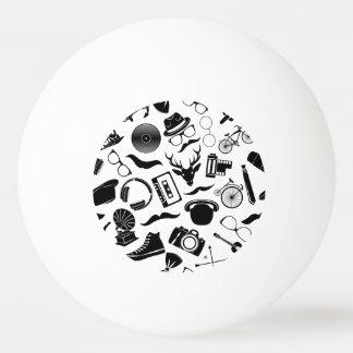 Black Pattern Hipster Ping Pong Ball