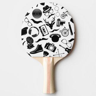 Black Pattern Hipster Ping Pong Paddle