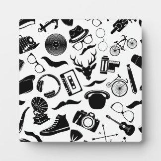 Black Pattern Hipster Plaque