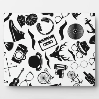 Black Pattern Hipster Plaque