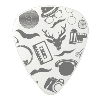 Black Pattern Hipster Polycarbonate Guitar Pick