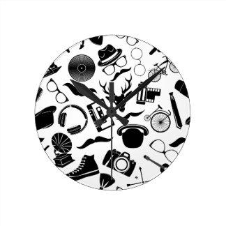 Black Pattern Hipster Round Clock
