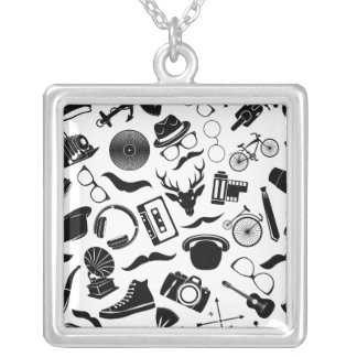 Black Pattern Hipster Silver Plated Necklace