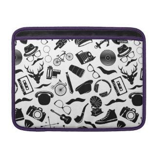 Black Pattern Hipster Sleeve For MacBook Air