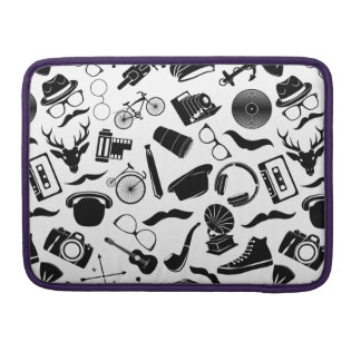 Black Pattern Hipster Sleeve For MacBook Pro