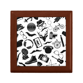 Black Pattern Hipster Small Square Gift Box