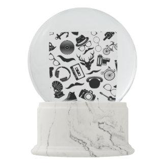 Black Pattern Hipster Snow Globe