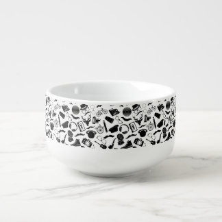 Black Pattern Hipster Soup Mug