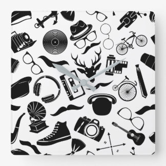 Black Pattern Hipster Square Wall Clock