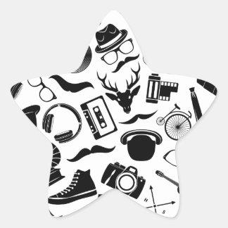Black Pattern Hipster Star Sticker