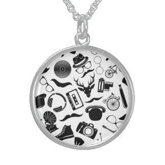 Black Pattern Hipster Sterling Silver Necklace