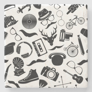 Black Pattern Hipster Stone Coaster
