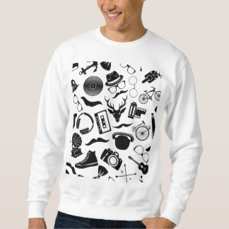 Black Pattern Hipster Sweatshirt
