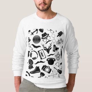 Black Pattern Hipster Sweatshirt