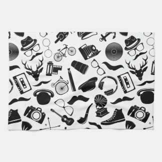 Black Pattern Hipster Tea Towel