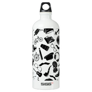 Black Pattern Hipster Water Bottle