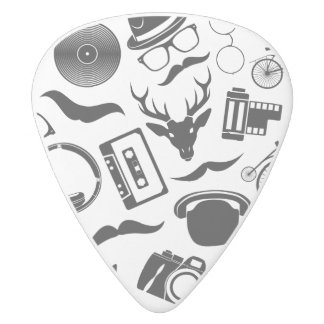 Black Pattern Hipster White Delrin Guitar Pick